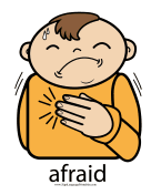 "Baby Sign Language ""Afraid"" sign (color) sign language printable"