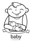 "Baby Sign Language ""Baby"" sign (outline) sign language printable"