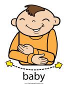 "Baby Sign Language ""Baby"" sign (color) sign language printable"