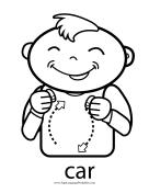 "Baby Sign Language ""Car"" sign (outline) sign language printable"