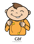 "Baby Sign Language ""Car"" sign (color) sign language printable"