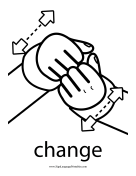 "Baby Sign Language ""Change"" sign (outline) sign language printable"