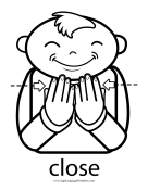 "Baby Sign Language ""Close"" sign (outline) sign language printable"
