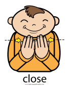 "Baby Sign Language ""Close"" sign (color) sign language printable"