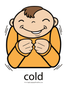 "Baby Sign Language ""Cold"" sign (color) sign language printable"