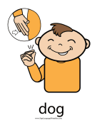 "Baby Sign Language ""Dog"" sign (color) sign language printable"