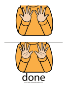 "Baby Sign Language ""Done"" sign (color) sign language printable"