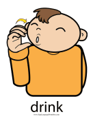 "Baby Sign Language ""Drink"" sign (color) sign language printable"