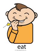 "Baby Sign Language ""Eat"" sign (color) sign language printable"