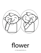 "Baby Sign Language ""Flower"" sign (outline) sign language printable"