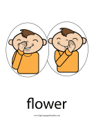 "Baby Sign Language ""Flower"" sign (color) sign language printable"