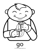 "Baby Sign Language ""Go"" sign (outline) sign language printable"