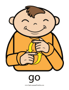 "Baby Sign Language ""Go"" sign (color) sign language printable"