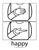 "Baby Sign Language ""Happy"" sign (outline) sign language printable"