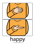 "Baby Sign Language ""Happy"" sign (color) sign language printable"