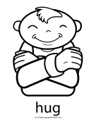 "Baby Sign Language ""Hug"" sign (outline) sign language printable"