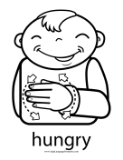 "Baby Sign Language ""Hungry"" sign (outline) sign language printable"