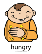 "Baby Sign Language ""Hungry"" sign (color) sign language printable"