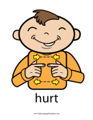 "Baby Sign Language ""Hurt"" sign (color) sign language printable"