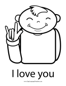 "Baby Sign Language ""I Love You"" sign (outline) sign language printable"