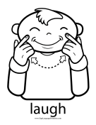 "Baby Sign Language ""Laugh"" sign (outline) sign language printable"