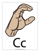 Letter C (color, with label) sign language printable