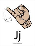 Letter J (color, with label) sign language printable