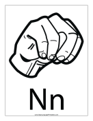 Letter N (outline, with label) sign language printable