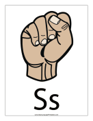 Letter S (color, with label) sign language printable