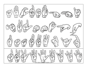 Sign Language Letter and Number Chart (outline, no labels) sign language printable