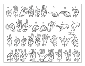 Sign Language Letter and Number Chart (outline, with labels) sign language printable