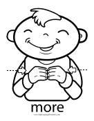 "Baby Sign Language ""More"" sign (outline) sign language printable"