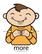 "Baby Sign Language ""More"" sign (color) sign language printable"