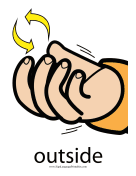 "Baby Sign Language ""Outside"" sign (color) sign language printable"