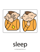 "Baby Sign Language ""Sleep"" sign (color) sign language printable"
