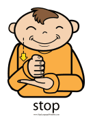 "Baby Sign Language ""Stop"" sign (color) sign language printable"