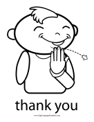 "Baby Sign Language ""Thank You"" sign (outline) sign language printable"