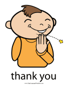 "Baby Sign Language ""Thank You"" sign (color) sign language printable"