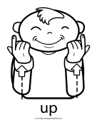 "Baby Sign Language ""Up"" sign (outline) sign language printable"