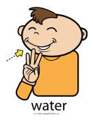 "Baby Sign Language ""Water"" sign (color) sign language printable"